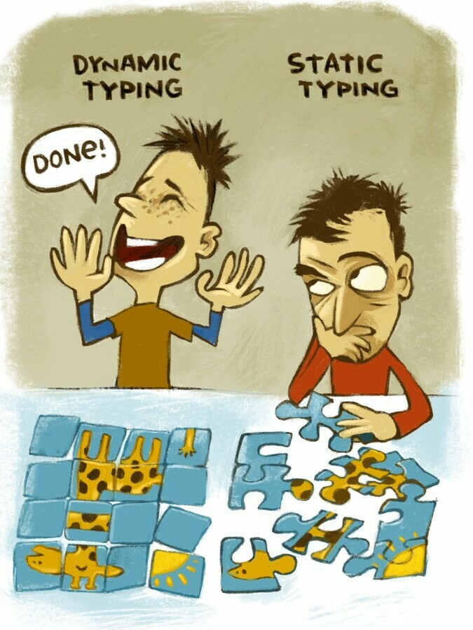 a dynamic typing enthusiast excitedly announcing their partially-incorrect puzzle, delievered on time, and a static typing enthusiast lost in thought about how to put the pieces together correctly